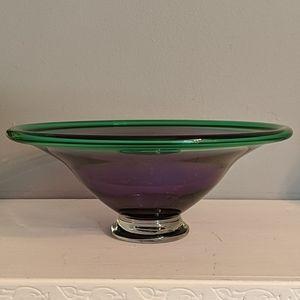 Hoglund Art Glass Pedestal Bowl, Purple/Green